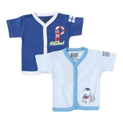 Baby Cotton Vest Pack Of 2 - Lt Blue And Blue - Mee Mee