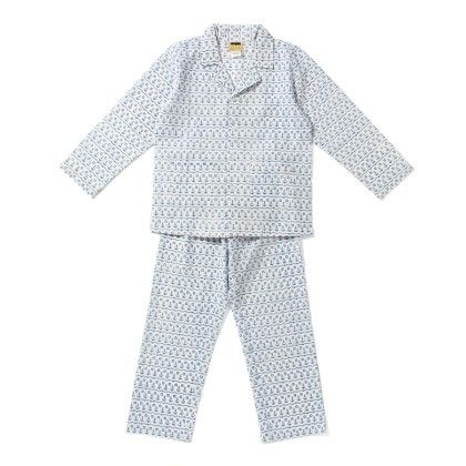 Blue And White Anchor Print Night Suit - Hugs & Tugs