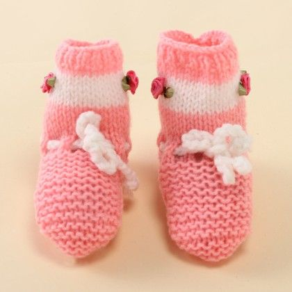 Pink Socks With White Stripes - Knitting Nani