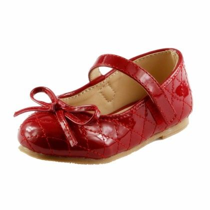 The Doll Maker Girl's Bow Top Glossy Pink Strap Flat - Red - Dollmaker
