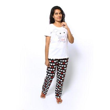 White Bunny Print Top With Full Pyjama Set - Sheer Love