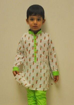 Carrot Print Kurta With Green Churidar - Little Stars