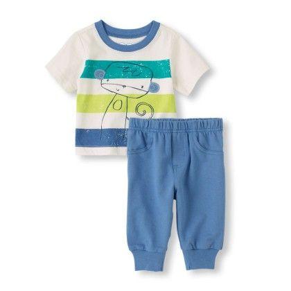 Striped Shirt & Pants Set - Blue - The Children's Place