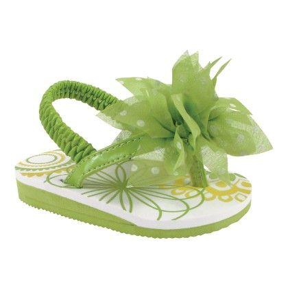 Lime Green Patent Eva - Lime Flower & White Dots - Baby Deer