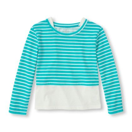Long Sleeve Striped Faux-layered Top - The Children's Place