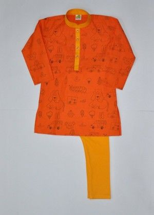 Quirky Deep Orange Printed Kurta With Deep Yellow Collar And Placket - Little Stars