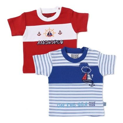T-shirts Pack Of 2 - Blue Stripes And Red - Mee Mee
