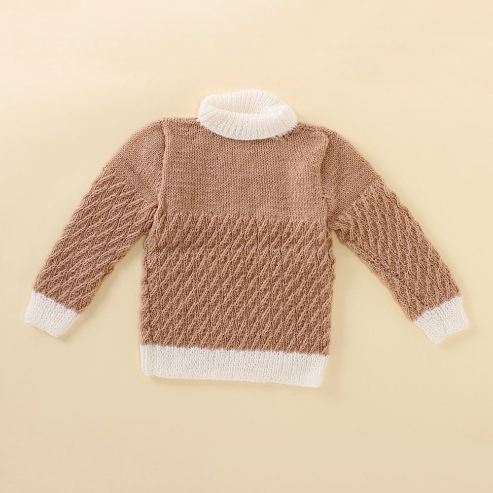 Light Brown And White Polo Neck - Knitting Nani