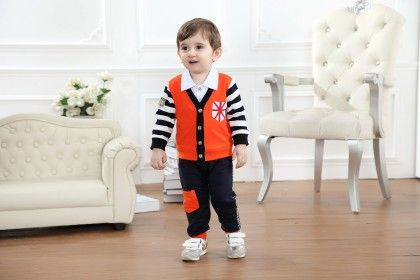 Boys Shirt And Trouser With Jacket- Orange - Dapper Dudes