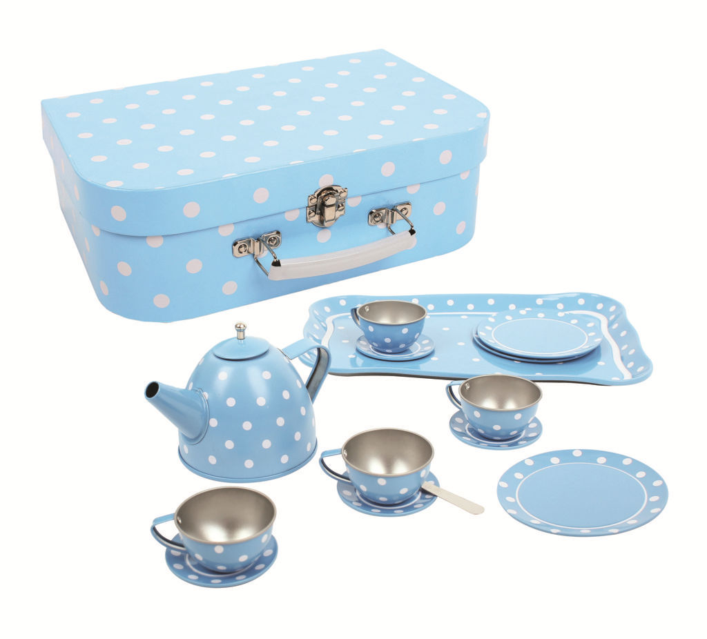 Blue Polka Dot Tin Tea Set - Big Jig Toys