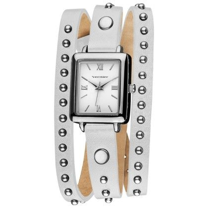 Vernier Fashion Silver Round Studded White Genuine Leather Triple Wrap Watch - Vernier Watches