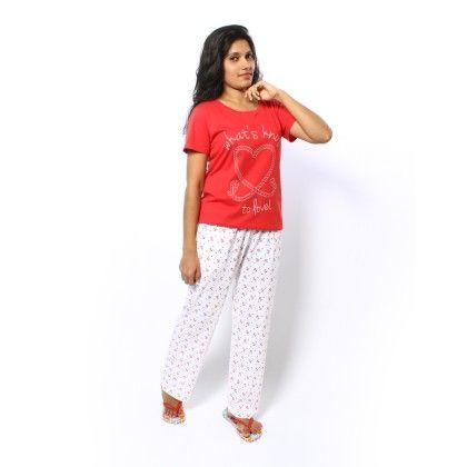 Anchor Print Full Pyjama With Red Top Set - Sheer Love