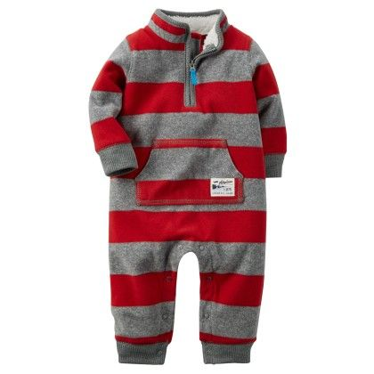 Rugby Stripe Fleece Jumpsuit-red And Gray - Carter's