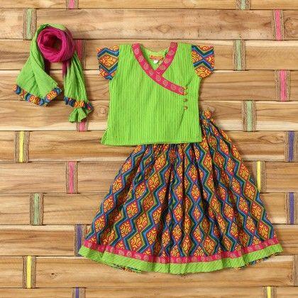 Green Pintex Rani Gold Print Yock Top Blue Printed Crush Skirt - Exclusive From Jaipur