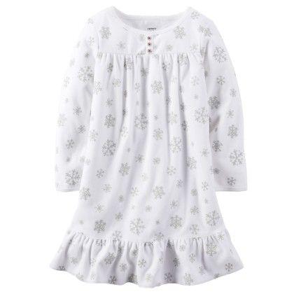 Ruffle Hem Fleece Sleep Shirt - Snow - Carter's