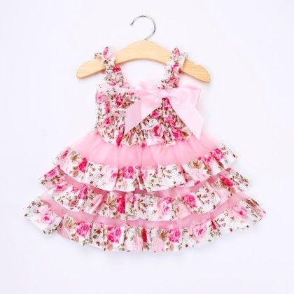 Pink Floral Ruffled Dress - Little Dress Up