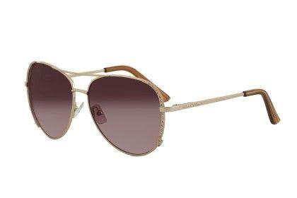 Vernier Gold-tone Brown Lens Stone Accent Aviator Sunglasses - Vernier Watches