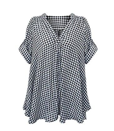 Plaid Grid Checked Casual Plus Size Shirt Black/white - LIZHOUMIL