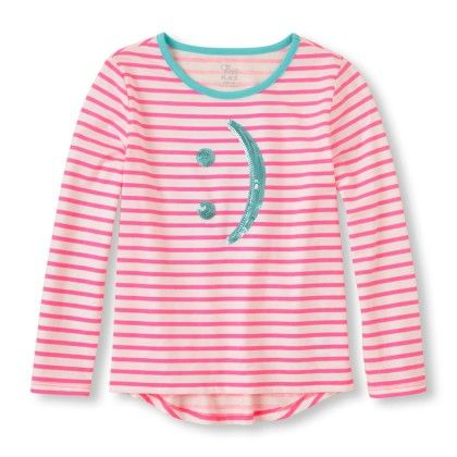Long Sleeve Striped Hi-low Emoticon Shirt - Neon Berry - The Children's Place