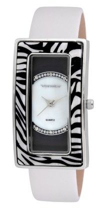 Vernier Women's Quartz Silver Case Zebra Resin Strap Watch - Vernier Watches