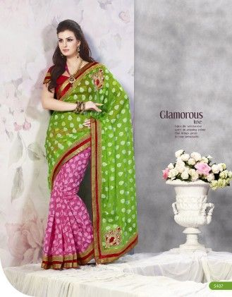 Touch Trends Green Banarasi Net Jaquard Saree - Touch Trends Ethnic