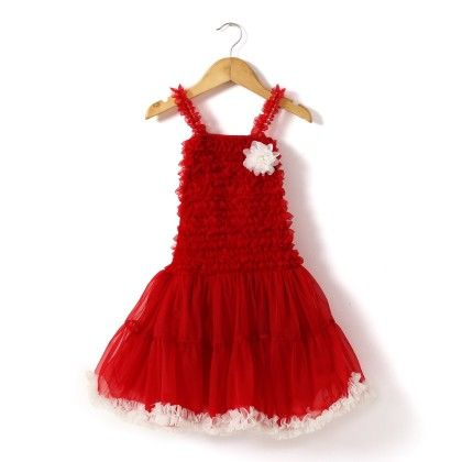 Red Frilly Dress With White Ruffles - The KidShop