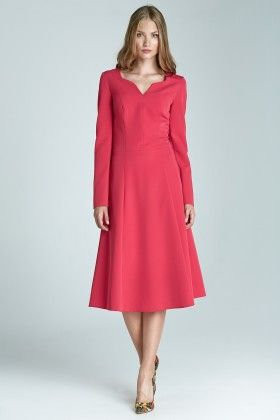 A Classic Dress With Long Sleeves S66 - Pink - Nife