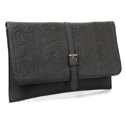Decorative Cut Out Design Faux Leather Fashion Statement Envelope Clutch Black - B.m.c