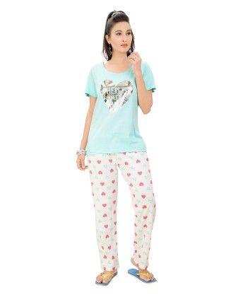 Heart Print Top With Full Pyjama Set - Sheer Love