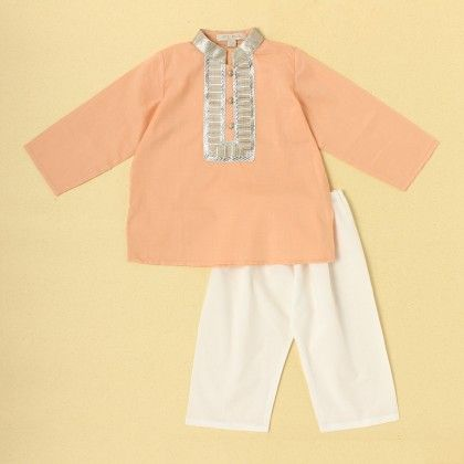 Boys Kurta Pyjama Set-coral - SU.MA By Verandah