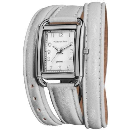Vernier Women's Quartz Silver Tone White Genuine Leather Triple Wrap Strap Watch - Vernier Watches