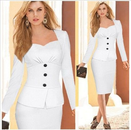 Bodycon Stretch Pencil Long Sleeve Ol Formal Party Dress-white - Viwenne