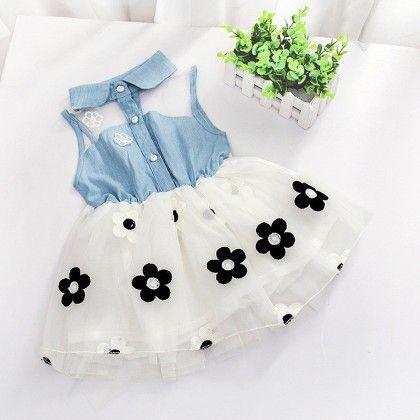 Denim Bodice Floral Print Dress- White - Mellow