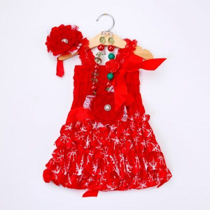 Red Floral Ruffled Dress With Headband And Waist Belt - Little Dress Up