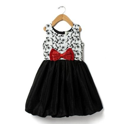Girls Bling Bow Party Dress-black N White - ISM
