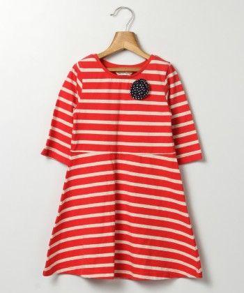 Flower Patch Striper Jersey Dress-red Stripe - Beebay