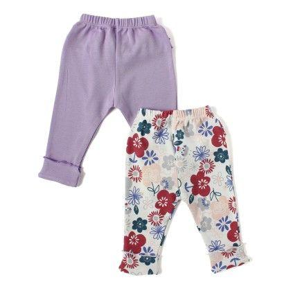 Solid Lavender Blue & Floral Printed Girls Legging With Frills - Set Of 2 - BEN BENNY