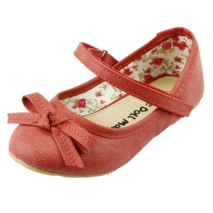 The Doll Maker Bow Top Strap Flat - Red - Dollmaker