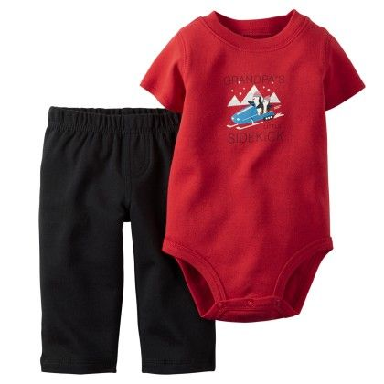 2-piece Bodysuit & Pant Set - Red And Black - Carter's