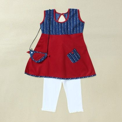 Kids Tunic With Blockprint Yoke Alongwith A Coin Pouch +white Leggings - Soul Design Inc