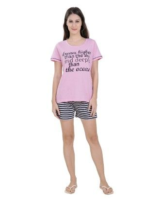 Pink Top With Striped Shorts Set - Sheer Love