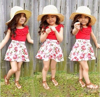 Red Designer Neck Top And Floral Print Skirt- Set - Little Fashionista