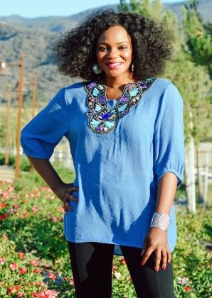 Loose Fit Embroidery Top - Blue - Xcel Couture
