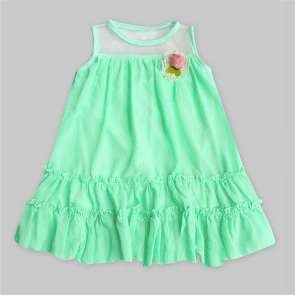 Spring Green Tunic With Flower - Freda & Pixie
