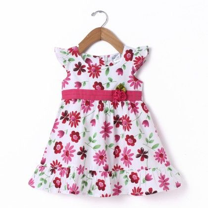 Dress Small Sleeve Frill White All Over Flower Print - Doodle