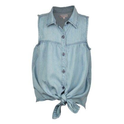 Light Blue Denim Tie Top - My Lil'Berry