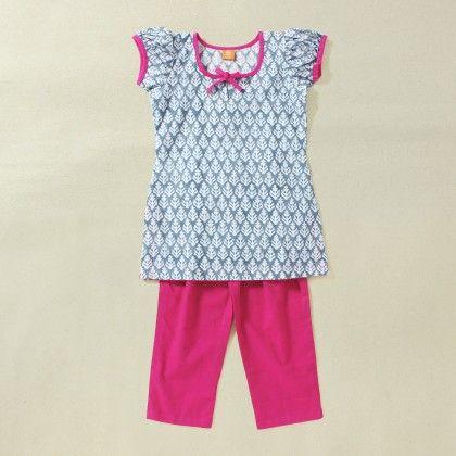 Kids Block Print Kurta With Pyjama - Soul Design Inc