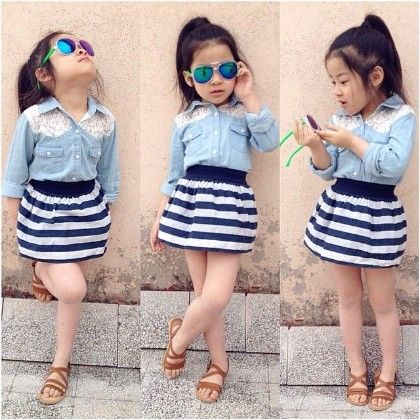 Denim Blue Shirt And Striped Skirt- Set - Little Fashionista