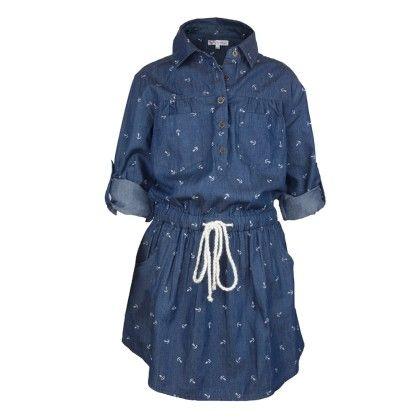 Blue Denim Anchor Print Shirt Dress - My Lil'Berry