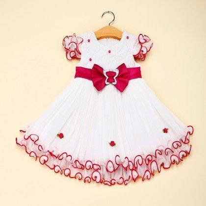Rose Red Bow Applique Net Dress - Bella
